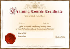 Training Certificate. Elegant Training Course certificate / award. Formal English writing and wax sealed with space for Employee name and endorsement signature Royalty Free Stock Photos