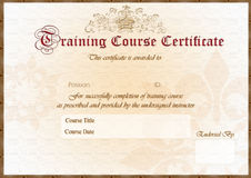 Training Certificate. Elegant Training Course certificate / award. Formal English writing and wax sealed with space for Employee name and endorsement signature stock illustration