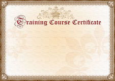 Training Certificate Royalty Free Stock Photo