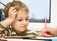 Training of the child to drawi Royalty Free Stock Photography