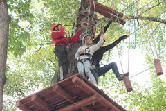 Training children climbing Royalty Free Stock Photos