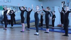 Training choreographic groups of children. Training choreographic group of children in the gym children's folk group Circus Ale-up. Kiev vdorets children and stock video