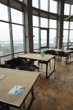 Training class with large panoramic windows royalty free stock photo