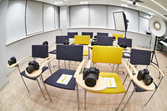 Training class in modern photography school Royalty Free Stock Images