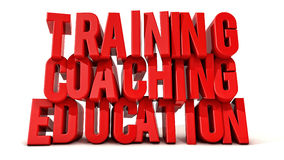 Training coaching and education text. Training coaching and education 3d text royalty free stock photography