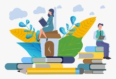 Training company employees. Getting knowledge from books and the Internet. Distance learning vector illustration