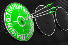 Training Concept on Green Target. Training Concept. Three Arrows Hitting the Center of Green Target on Black Background Stock Image