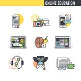 The training concept. Set of icons on white background stock illustration