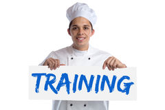 Training cook apprentice trainee cooking job isolated. On a white background royalty free stock photography
