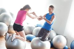 Training - couple on stability balls Stock Photography