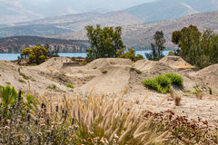 Training Course for BMX for Olympic Athletes. CHULA VISTA, CALIFORNIA - JUNE 30, 2017: A BMX training course with moguls at the Chula Vista Elite Athlete stock photos