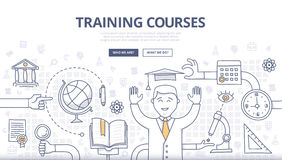 Training Courses and Education Doodle Concept. Doodle design style concept of global education, training courses, obtaining specialty, university graduation Royalty Free Illustration