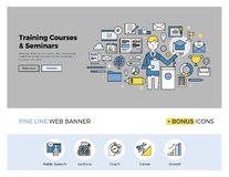 Training courses flat line banner stock illustration