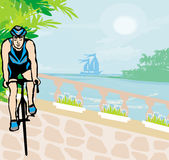 Training cyclists in the tropical vacation Royalty Free Stock Image