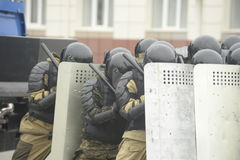 Training der russischen Polizei Besondere Kräfte swat Lizenzfreies Stockfoto
