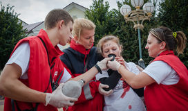 Training detachment of the Red Cross Stock Photography