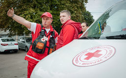 Training detachment of the Red Cross Royalty Free Stock Images
