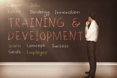 Training and development terms written on a blackboard 3d Stock Image