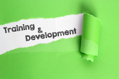 Training and Development. Word in torn page Stock Photo