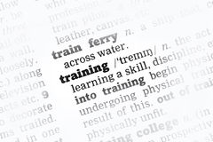 Training Dictionary Definition Stock Photos