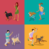 Training Dogs. People with Pets. Isometric flat 3d illustration. Training Dogs. People with Pets. Isometric Vector flat 3d illustration Stock Image