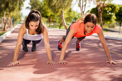 Training and doing pushups Stock Image
