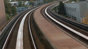 Training driving railroad. Curved railroad metro train moving stock footage