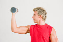 Training with dumbbells Stock Photo