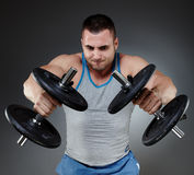 Training with dumbbells Royalty Free Stock Image