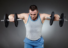 Training with dumbbells Royalty Free Stock Photography
