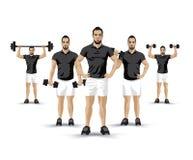 Training dumbbells men Stock Photos