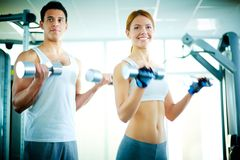 Training with dumbbells Stock Images