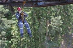 Training elevation work on the old railway bridge Stock Photos