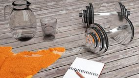 Dumbbells, towel, glass of water on a wooden table vector illustration