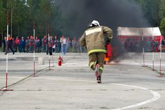 Training firefighters at the training range. royalty free stock photo