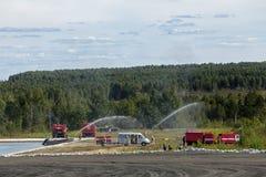 Training firemens Stock Image