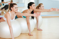 Training with fitness balls. Stock Image