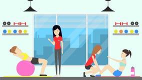 Training at fitness center. Stock Photo