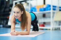 Training in fitness center stock images