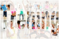 Training fitness workout collage. Training fitness workout women collage royalty free stock photos