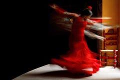 Training of a flamenco dancer. SEVILLE, SPAIN, October 23, 2015 : Flamenco woman dancer La Yera trains in La Casa de la Memoria. Flamenco is an artform of music Royalty Free Stock Images