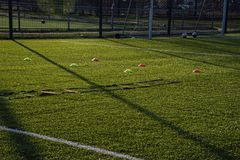 Training football pitch with artificial green grass and training Royalty Free Stock Images