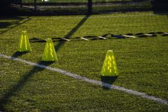 Training football pitch with artificial green grass and training Royalty Free Stock Image