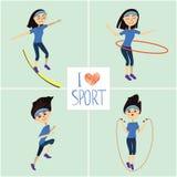 Training girl icons set. I love sport Stock Photo