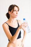 Training girl thirsty for water Stock Photos