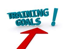 Training goals. 3D blue block text training goals with exclamation point on white background with red directional arrow stock image
