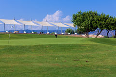Training golf field for range shots. Cyprus Royalty Free Stock Photography