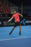 Training on Grigor Dimitrov. Sofia, Bulgaria - November 27, 2015: Sofia, Bulgaria, Workout on Grigor Dimitrov for demonstrative match in Arena Armeec hall, Sofia Royalty Free Stock Images