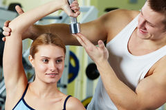 Training in gym Stock Photography