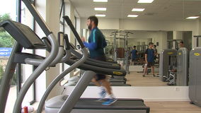 Training in the gymnasium of the Kranevo hotel complex in Bulgaria stock video